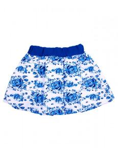 Юбка для девочек белая с цветами гжель