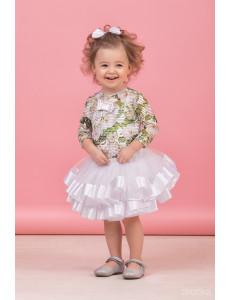 """Комплект нарядный для малышек белого цвета из трех предметов """"Тортик"""""""